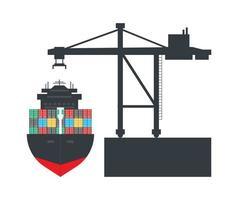 Container cargo ship with container crane vector