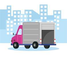 Composición del servicio de entrega con camión. vector