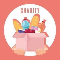 Charity and donation box with food