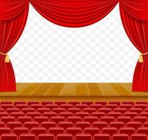 Escenario de teatro en la sala con cortinas y sillones. vector