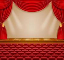 Theater stage in the hall with curtains and armchairs vector