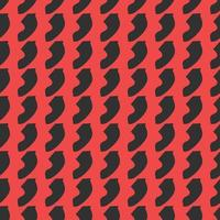 Hand drawn red and black colored abstract shape pattern