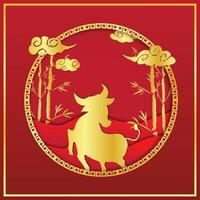 Chinese new year red and gold silhouette design