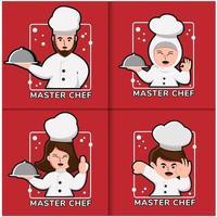 conjunto de diseño de logotipo de chef vector