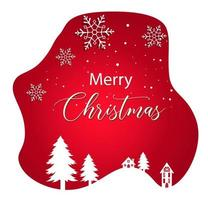 Merry Christmas Sticker with Snowflakes and Winter Landscape