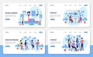 Online learning, podcast, creative process and startup landing pages vector