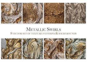 Metallic Swirls Set of 8 Texture Patterns vector
