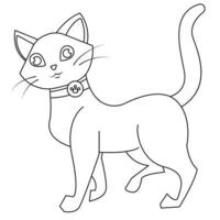 Beautiful and cute cat outline for coloring page vector