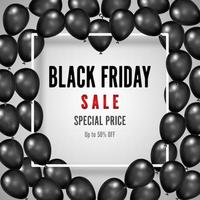Black Friday sale poster with shiny black balloons vector