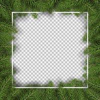 Christmas fir tree square border vector