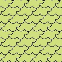 Hand drawn black outline shape on green pattern