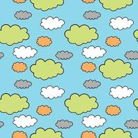 Hand drawn and colored cloud pattern