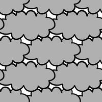Hand drawn grey, black otulined clouds pattern