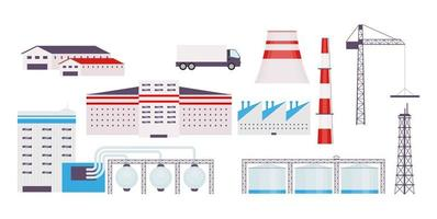 Industrial factory objects set vector