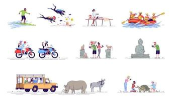 Indonesia tourism flat doodle set. vector