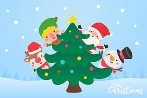 santa, elfo, reno y muñeco de nieve decoran el árbol de navidad vector