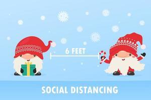 Christmas characters do social distancing vector