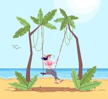 Woman on swing flat doodle vector
