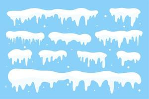 Snow cap collection. White snow falling in winter vector