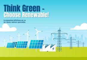 piensa en verde, elige banner renovable vector