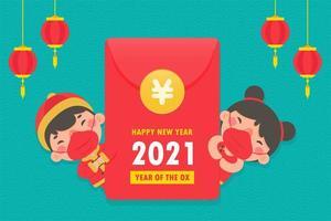niño y niña chinos en ropa tradicional vector