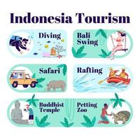Indonesia tourism infographic template. vector