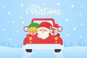 personajes navideños conduciendo en la nieve vector