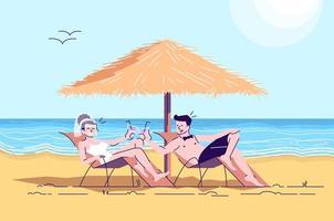 Married couple on beach flat doodle vector