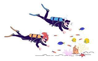 Couple of scuba divers flat doodle vector