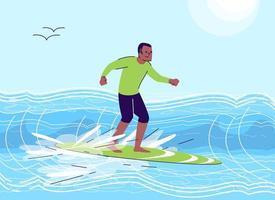 Surfing man flat doodle vector
