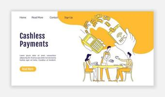 Cashless payments landing page vector