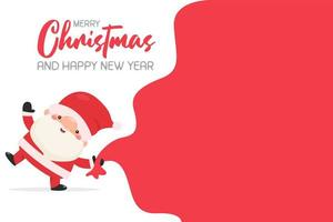 Santa carrying a big red gift bag for children vector