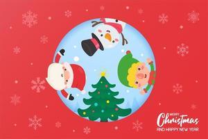 Santa, elf and snowman decorating Christmas tree