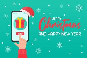 Hand pointing to phone screen to send Christmas gift vector