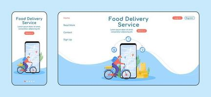 Food delivery service adaptive landing page vector