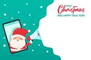 Santa on mobile phone shouting Christmas promotion vector