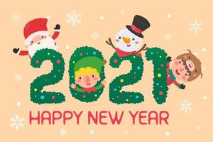 Christmas characters in 2021 text vector