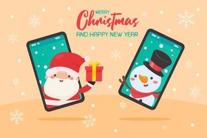 Santa coming out of phone to give gift to snowman vector