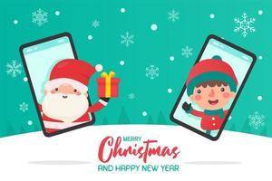 Santa coming out of phone to give gift to child vector