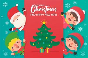 dibujos animados de santa y amigos con árbol de navidad