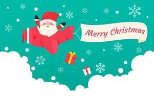 santa deja caer regalos de navidad desde el avión vector