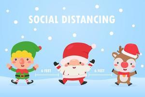 elfo, santa y reno hacen distanciamiento social vector
