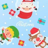 Santa, elf, and reindeer make snow angels