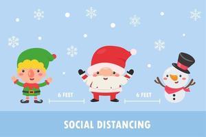 elfo, santa y muñeco de nieve hacen distanciamiento social vector