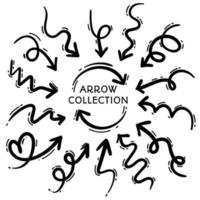 Collection of freehand black line arrows vector