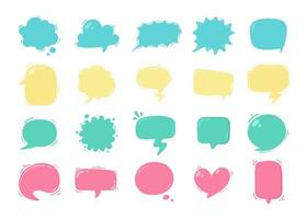 Collection of pastel colored cartoon speech bubbles