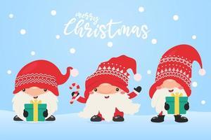 gnomos de navidad con regalos de navidad vector