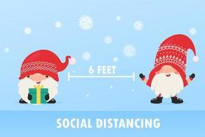 gnomos navideños practicando el distanciamiento social