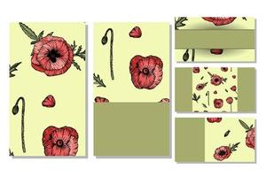 Set of 5 business cards with hand drawn poppy. vector