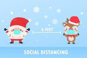 Santa and reindeer wear masks to stop coronavirus